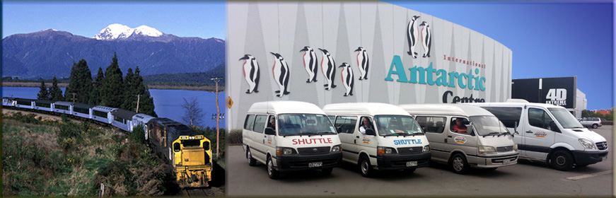 Canterbury Airport Shuttles are the official courtesy transport for the Tranz-Alpine and Coastal Pacific train journeys.